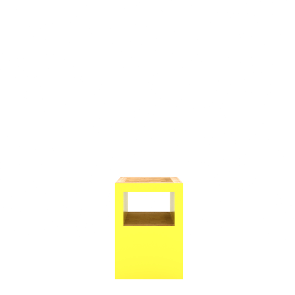 Block Stool Open Yellow